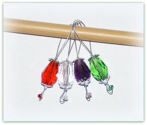 4 x Maschenmarkierer Glastropfen, Strickmarker