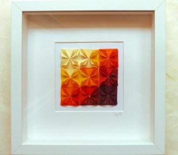 3D-Wallart Origami Rosetten im Rahmen  farbverlauf gelb-rot