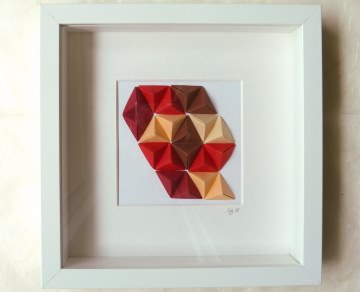 3D-Wallart Origami Tetraeder im Rahmen rot-braun