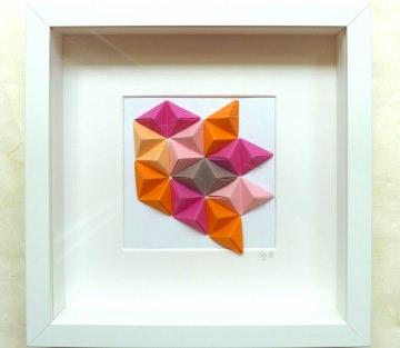 3D-Wallart Origami Tetraeder im Rahmen pink, orange, braun