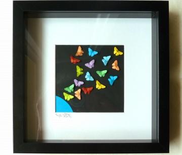 3D-Wallart Origami bunte Schmetterlinge auf schwarzem Grund