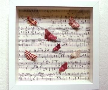 3D-Wallart Origami bunte Schmetterlinge auf Noten