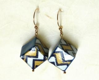 Ohrhänger Origami Würfel blau gold weiß gezackt