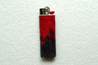 Feuerzeughülle rot-schwarz für BIC-Feuerzeuge