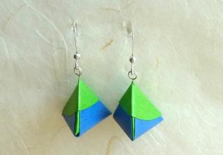 OhrhängerOrigami Pyramide blau grün