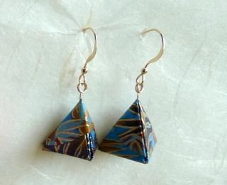 OhrhängerOrigami Pyramide blau-goldene Blätter