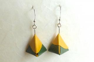 Ohrhänger Origami Pyramide grün-gelb