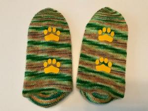 Wollsocken, Antirutschsocken, handgefärbt und handgestrickt, Grün, Größe 38/39 - Handarbeit kaufen