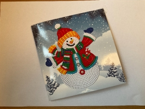 Weihnachtskarte, Schneemann, handgefertigt, 15x15 cm, aufklappbar - Handarbeit kaufen