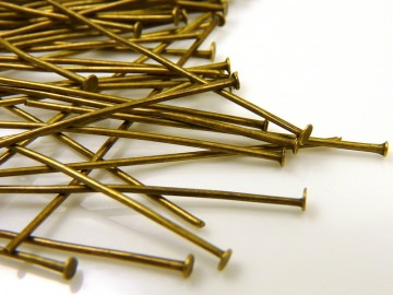 50 Nietstifte mit Flachkopf - 30mm - Antik Bronze - bronzefarben