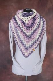 Schal, Dreieckstuch, lila - Flieder - creme, 100x130 cm, gehäkelt - Handarbeit kaufen