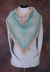 Dreieckstuch, Schal, türkis, mint, 108 x 126 cm - Handarbeit kaufen