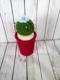 Nadelkissen, Kaktus mit hellblauen Blume und Perle, upcycling - Handarbeit kaufen