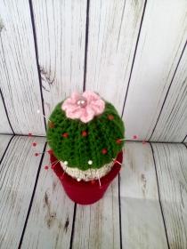 Nadelkissen, Kaktus mit rosa Blume und Perle, upcycling, 18 cm - Handarbeit kaufen
