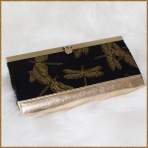 Libellen Clutch  mit Taschenbügel PORTmoney Royal Gold/schwarz