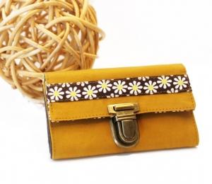 MiniMoneyBag mini Portemonnaie Sonnenblume- Gewachste Baumwolle Dry Oilskin