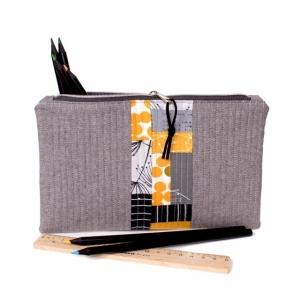 Schminktäschchen Pencil Pouch mit gelb Patchworkdesign