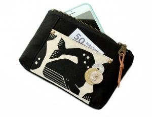 kleine Norfolk Pouch mit Grumpy Whales Canvas vielseitige Reißverschlusstasche