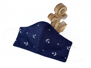 maritime Behelfsmaske mit Anker aus blauer Baumwolle
