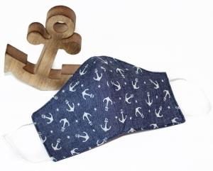 maritime Behelfsmaske aus leichter Baumwolle  mit Anker in jeansblau