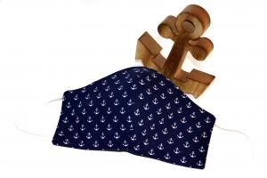 maritime Behelfsmaske aus blauer Baumwolle mit Mini-Anker