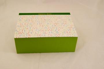 Schulschuhkarton, A4 Klappdeckelkiste, Kästchen mit Namesprägung