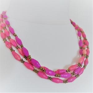 Papierperlen Kette | Recycling-Schmuck handgemacht | Kette lang in rosa, pink, lila