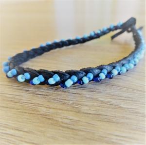Lederarmband | hellblau blau schwarz