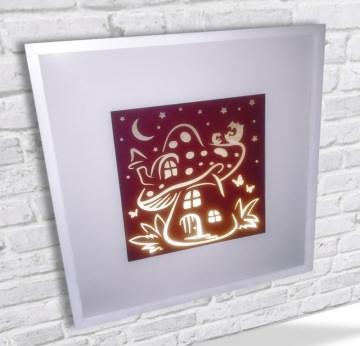 Kinderlampe LED Leuchtrahmen Pilzhaus mit Eulen