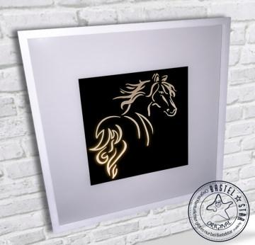 Pferde Wandlampe Leuchtrahmen mit LED und Kippschalter