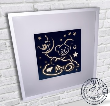 Kinderlampe LED Leuchtrahmen Teddy mit Eule im Mond