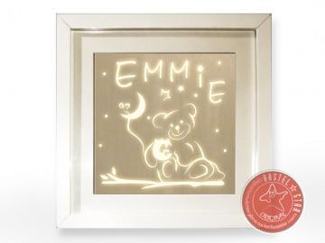 LED Nachtlicht  Teddy mit Eule im Mond Leuchtrahmen
