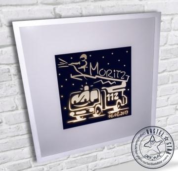 Feuerwehr Wandlampe Leuchtrahmen mit Namen und Datum
