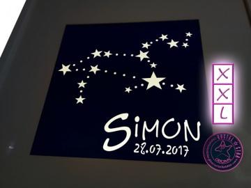 Sternzeichen beleuchtet mit LED Wandbild Personalisiert mit Namen