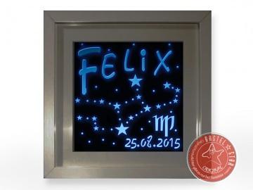 Sternzeichen aus Holz mit Namen Personalisiert LED BLAU