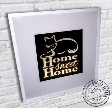 Katze Home sweet Home beleuchtetes LED Bild mit Kippschalter