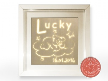 Teddy auf Wolke mit Sternen LED Schlummerlampe zum Träumen