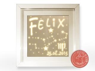 Sternzeichen aus Holz mit Namen Personalisiert LED WEIS
