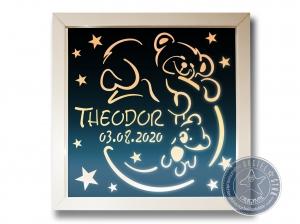 Teddy im Mond mit Sternen LED Schlummerlampe zum Träumen