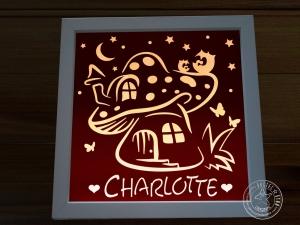 Beleuchteter Bilderrahmen Pilzhaus mit Eulen personalisierbar mit Namen