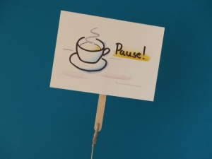 Konferenzkarte:Pause! - belebe Videokonferenzen    - Handarbeit kaufen
