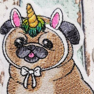 Aufnäher I Wish I Were a Unicorn gestickt Mops Dog Hund