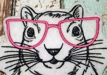 Aufnähe Applikation gestickt Hamster mit Pink Brille