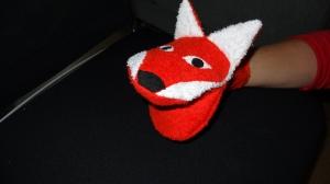 Kinder Waschhandschuh Fuchs mit aufklappbarem Maul (Waschlappen) - Handarbeit kaufen