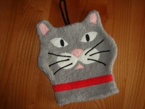 Kinderwaschhandschuh (Waschlappen) Katze in grau - Handarbeit kaufen