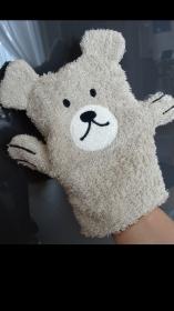 Waschhandschuh hellbrauner Bär für Kinder (Waschlappen) - Handarbeit kaufen