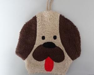brauner Hunde Waschlappen mit Schlapperzunge (Waschhandschuh) - Handarbeit kaufen