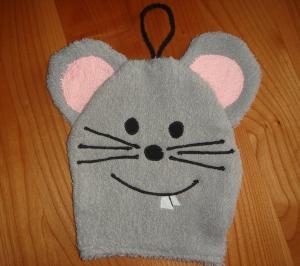 Maus Waschhandschuh oder auch Waschlappen genannt - Handarbeit kaufen