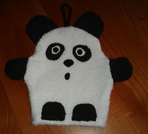 Waschhandschuh (Waschlappen) Panda für Kinder  - Handarbeit kaufen