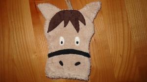 Waschhandschuh (Waschlappen) hellbraunes Pferd - Handarbeit kaufen